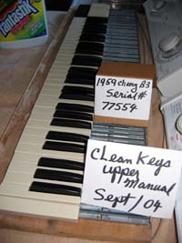 Picture of cleaned keys upper manual
